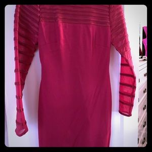 NWT Long sleeve red dress with semi sheer sleeves